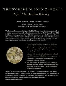 John Thelwall 2016 CFP Notice Extended